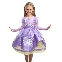 Wholesale Exclusive Girls Dresses - Exclusive Short Knee Sofia the First Sofia Classic Toddler Costume Dress No Glitter Girls Halloween XMAS Party Princess Dress Gifts HH7-125