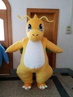 Wholesale Dinosaur Costume Yellow - Dragon Dinosaur mascot costume adult Unisex Cartoon Character mascot costume Custom