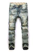 Wholesale Koreans Jeans - European Men's Restore Ancient Ways Man Holes Directly Cuffless Trousers Male Korean Leisure Time Tide Brand Wear Men Jeans