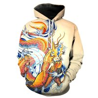Wholesale Sweatshirt Chinese - Free Shipping US Size M-5XL High Quality New Fashion Casual Hoodie Chinese Dragon 3D Digital Printing Slim Hooded Sweatshirt Sweater