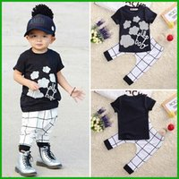 Wholesale Toddler Summer Zebra Boy - 2016 New summer baby boy clothes set 2pcs Toddler Kids Baby Boy T-shirt Tops+Long Pant Trousers Outfits Clothing Set Navy blue