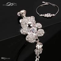 Wholesale Teddy Bears Diamond - Cute Teddy Bear CZ Diamond Crystal Charm Bracelets & Bangles Wholesale Platinum Plated Fashion Jewelry For Women Imitation Crystal DFH069