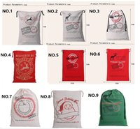 Wholesale Reindeer Stocking - Christmas Large Canvas 50*70cm Santa Claus Drawstring Bag With Reindeers Monogramable Christmas Gifts Sack Bags free shipping CC04