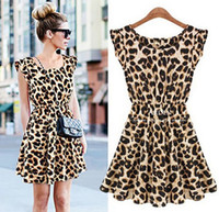 Wholesale Mini Sundresses Sale - Limited Sale! New Ladie's Summer Dresses O-Neck Leopard Print Mini Casual Sundress Oversized Free Shipping Sexy Personality Hot Sale Fashion