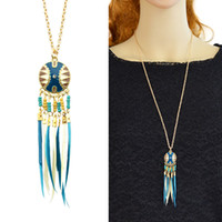 Wholesale Indian Feather Necklace - Dream Catcher Style Colorful Feather Pendant Necklaces