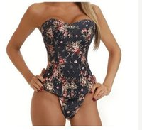 Wholesale-Dettagli su Sexy denim floreale del corsetto Top Shaper Underbust Cincher pizzo posteriore