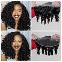Wholesale best brazilian curl hair for sale - Best Quality A Brazilian Lace Frontal Closure x4 With Baby Hair Bleached Knots Aunty Funmi hair Bouncy Curls Ear to Ear Lace Frontals