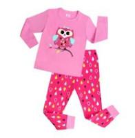 Wholesale Pyjamas Owl - 2016 Cute Owl pajamas suit children cartoon pyjamas kids sleepwear Girls homewear T-shirts 6 sets lot
