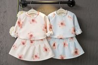 Wholesale Childrens Fall Outfits - 2016 New Fall Baby Girls Clothes Childrens Flowers new round collar fleece + pleated skirt two-piece outfit