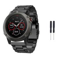 8eb58476c41e Venta al por mayor de acero inoxidable reloj pulsera banda correa para Garmin  Fenix 5x reloj GPS + 2pc perno conductor Jun21 envío profesional de la gota