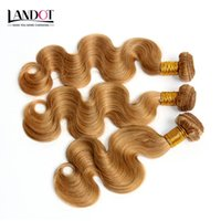 Wholesale Double Drawn Body Wave - Honey Blonde Indian Body Wave Virgin Human Hair Extensions Color 27 Indian Hair 3Pcs Indian Wavy Hair Weave Bundles Double Drawn Weft
