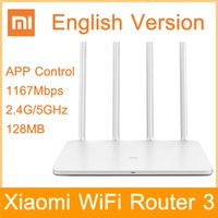 Wholesale Repeater Control - Original Xiaomi WIFI Router 3 English Version 1167Mbps WiFi Repeater 2.4G 5GHz 128MB Dual Band APP Control WiFi Wireless Routers