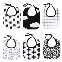 Wholesale Towels For Newborn Babies - Baby Bibs Cartoon Print Cross Clouds Grid Saliva Towel Kids Pinafore Dribble Bibs Bavoir Towel Baberos For Newborn