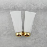 Wholesale Wholesale Personal Care Products - Wholesale- 50PCS 50 ml white golden circular lid tube tube cosmetic skin care products packaging empty bottles PE bottles plastic hose
