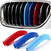 ingrosso adesivi in plastica 3d-3 colori ABS 3D M Car Styling Griglia anteriore Trim Strisce Cover Adesivi Motorsport per BMW 5 Series 2014-2017