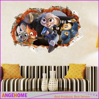 Wholesale Kids Fox Wall Decals - Zootopia Animals Wall Stickers Cartoon Zoo Kids Rooms decals stickers Movie Decals Nick Fox Judy Rabbit Art Wallpaper 60*90cm