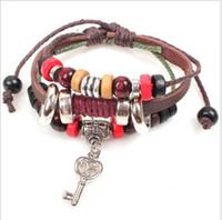 Wholesale Design Transportation - 2016 Han edition rivets bracelet Italian design keys alone three leather Real leather bracelet Free transportation