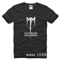 Wholesale Rock Shirt Mens - WISHCART Classic Marilyn Manson Rock T Shirt Mens Men Tshirt 2016 Short Sleeve Cotton Casual T-shirt Tee Camisetas Hombre
