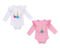 Wholesale Wholesale Long Sleeved Baby Rompers - European Style New Styles 2017 Autumn Baby Girls Long Sleeved Unicorn Climb Rompers Newborn Toddlers Cotton Jumpsuit 2 Colors