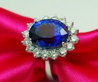 SZ 6/7/8/9 Joyería 10kt Gold Filled Blue Sapphire mujeres Wedding Princess Ring