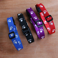 Wholesale Nylon Rope Free Shipping - High Quality Pet Nylon Footprints Collar Printing Footprint Adjustable Cat Dog Collar Traction Rope 4 Colors 3 Sizes Free Shipping
