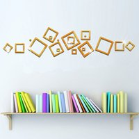 Wholesale Framed Wall Mirror Black - Box Frame Mirror stickers television background decorative stickers removable acrylic mirror perspective new 2016 European and Am