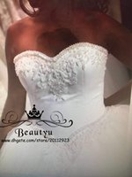 Wholesale T Length Puffy Dress - Plus Size Ball Gown Wedding Dresses With Pearls Beaded 2018 Customized Sweetheart Lace Up Back White Puffy Tulle Bridal Gowns Victorian 2K17