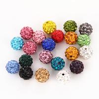 bola de discoteca pulsera de cuentas al por mayor-¡Barato! 50 unids / lote 10 mm colores mezclados Micro Pave CZ Disco Ball Crystal Bead Bracelet Necklace Rhineston Beads envío gratis