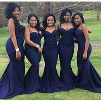 elegante dama de honra vestidos venda por atacado-Sul-africano Da Marinha Azul Querida Sereia Da Dama De Honra Vestidos Plus Size Cintas de Espaguete Sem Encosto Barato Elegante Prom Evening Vestidos