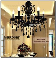 Wholesale Wrought Iron Glass Light - Small Vintage Black 6 Arms Crystal Chandelier Light Fixture Princess American Wrought Iron Lustre Suspension Hanging Light