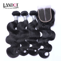 Wholesale Brazilian Hair Bundles Lace Top - Top Lace Closures With 3 Bundles Brazilian Virgin Hair Weaves Malaysian Indian Peruvian Cambodian Brazillian Body Wave Remy Human Hair wefts