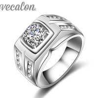 Wholesale Silver Male Wedding Ring - Vecalon Handmade Engagement Wedding Band ring for men Solitaire 2ct Simulated diamond Cz 925 Sterling Silver male Party ring