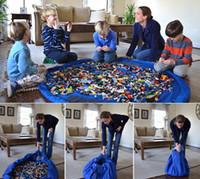 Wholesale Soft Box Large - 30pcs lot Free Shipping 150cm Portable Kids Children Infant Baby Play Mat Large Storage Bags Toys Organizer Blanket Rug Boxes