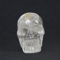 Wholesale Carved Crystal Skulls - Wholesale HJT 75mm Natural clear crystal skulls Carved Realistic clear Crystal Skull Reiki Crystal Healing Statue decoration Stone Skull