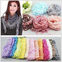 Wholesale veil wrap - Great Discount~Brand Scarf Fashion 10 X Lace Sheer Floral Print Triangle Veil Church Mantilla Scarf Shawl Wrap Tassel
