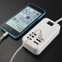 Wholesale Usb Charging Wall Socket Power - 6 Port Portable USB Hub Desktop Wall Charger AC Power Adapter EU Plug Slots Charging Extension Socket Oufor iPhone 4 4S iPad 2 3 mp3 mp4 GPS