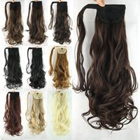 """Wholesale Long Black Wavy Hair Extension - High quality 24""""(60cm) 100g Cheap Long Wavy Synthetic Ponytail Clip In hair extensions Ribbon Ponytail WOMEN"""