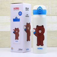 Wholesale bear hello - Japan THERMO Brown bear LINE & Hello Kitty Stainless steel Insulation cup 500ML cute Cartoon Accompanying Cup for water coffee Children gift