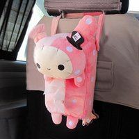 Vente en gros- Pink Plush Master Rabbit Tissue Box Cover Décoration intérieure Fluffy Cartoon Toy Tissue Box Serviette Holder Home Decor Specially For Cars