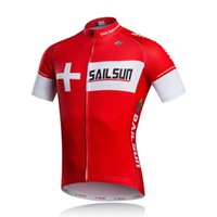 Wholesale Team Cycle Jerseys Wholesale - Hot Red SAIL SUN Men Cycling Jersey Top Crossrode Team Bike Clothing Pro MTB Ropa Ciclismo Summer Cycling Wear Bicycle Shirts