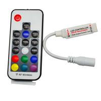 mini controlador sem fio rf venda por atacado-Controlador LED RGB DC5V-24V 12A 17key mini RF Sem Fio Remoto Dimmer Para 5050 3528 RGB Luz de Tira Flexível