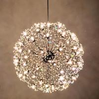 pendentif boule de fleurs achat en gros de-Pissenlit LED lustres européenne Creative K9 cristal pissenlit fleurs balle pendentif lampe salon lumière livraison gratuite