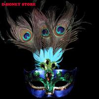máscaras de pavo real plumas al por mayor-2016 Mujeres Peacock Feather Masquerade Máscara Venetian Faux Diamond Dancing Party Eye Máscaras máscaras de halloween para adultos