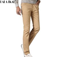 Wholesale Men Office Pants - Wholesale-Slim Fit Spring Pants Men 95% Cotton Casual Trousers Man Office Pants Male Clothing Khaki Black Red KMA0129-5