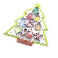 haus kekse großhandel-10 teile / satz Weihnachten Plätzchenform Edelstahl Baum Schneestern Haus Herz Ausstecher DIY Fondant Kuchen Dekor