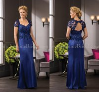 Wholesale Jasmine Mother Bride Dresses - New Jasmine Mother Of The Bride Dresses Royal Blue Short Sleeve Appliques Lace Long Beaded Formal Cocktail Evening Prom Dress Custom Made
