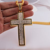 Wholesale Large Rhinestone Cross Necklace - Mens Hip Hop Full Iced Out Gold and Silver Thick Large Cross Pendant Charm w 36