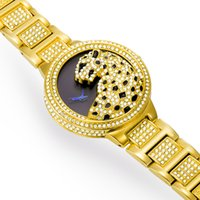 Wholesale Cheetah Glasses - Luxury watches Fashion Classic Original Desigh Cheetah Dial Replicas Watches Crystal Square Drill Stainless Steel Bling Jewelry Watch Swiss