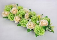 Barato Champanhe Champagne Rosa Chefes-2pcs 18 chefes ChampagneGreen Seda Artificial Rose Flower Arco Frame Em uma linha Decorativa Wedding Road Led Flower Wedding Props