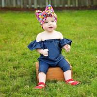 Wholesale Denim Jumpsuit 12 - New Girls Romper Strapless Ruffle Baby Jumpsuit Autumn Summer pure color Infant Casual Bodysuit Toddler Denim Onesies C2182
